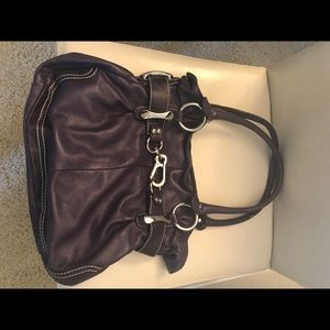 B Makowsky Purple Leather Tote